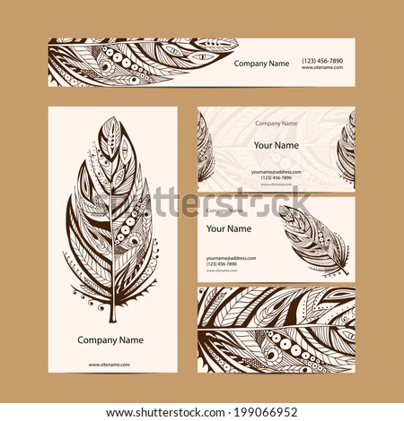 Set retro business card. Vector background. Card or invitation. Vintage decorative elements. Hand drawn background. Islam, arabic, indian, ottoman motifs. - stock vector