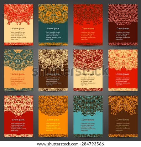 Set retro business card. Vector background. Card or invitation. Vintage decorative elements. Hand drawn background. Islam, Arabic, Indian, ottoman motifs. EPS