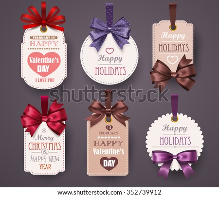Set Retro Labels with bows and shadow on gray background. Vector illustration - stock vector