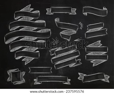 Set ribbons in vintage style stylized drawing with chalk - stock vector