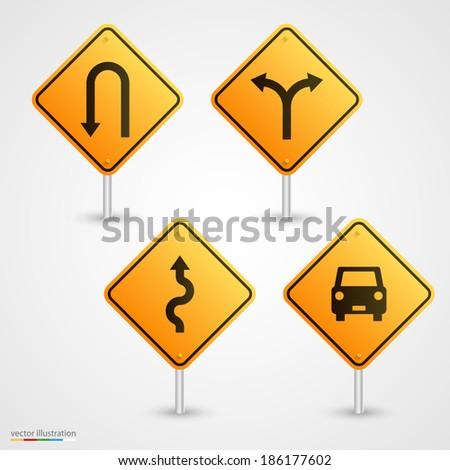 Set road sign. Vector - stock vector