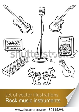 set rock music instrument vector illustration isolated on white background - stock vector