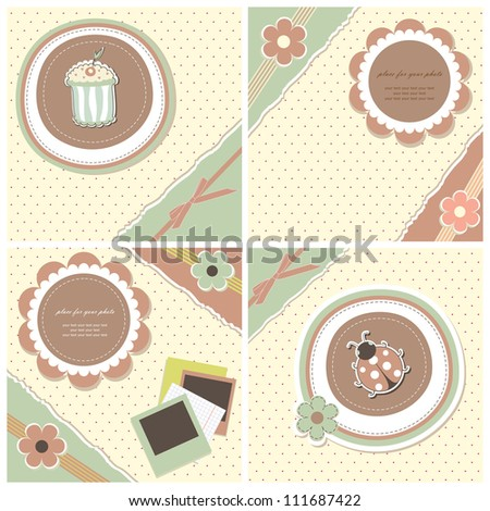 Set romantic scrapbooking for invitation, greeting, birthday, label, old postcard, congratulation, design element, retro pattern, texture frame, vintage wallpaper, print gift with text vector eps 8 - stock vector