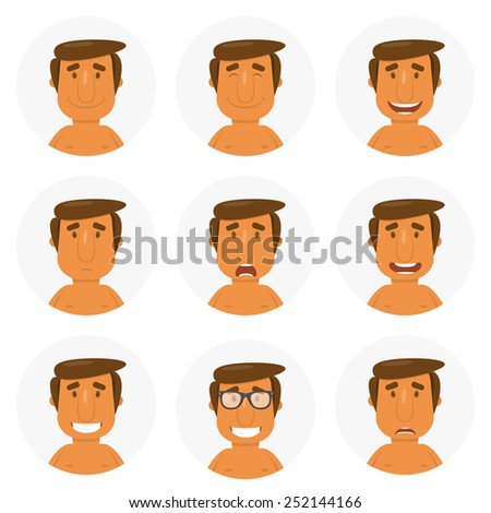Set round avatars with fun guy. Vector illustration - stock vector