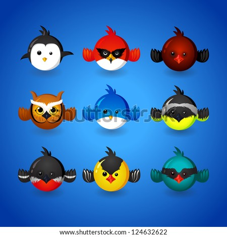 set round funny birds - stock vector