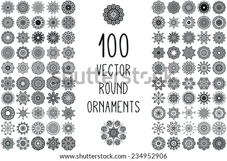 Set Round Ornament Pattern. Snowflakes. Vintage decorative elements. Hand drawn background. Islam, Arabic, Indian, ottoman motifs.  - stock vector