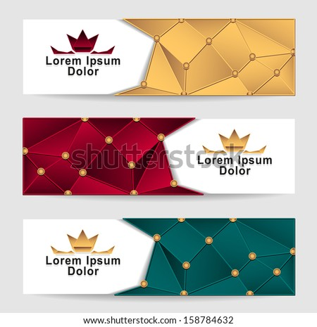 Set Royal Triangle banners gold red dark green colors with crown for advertising different something - stock vector