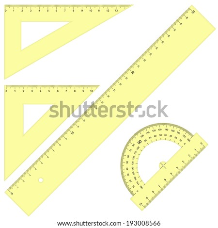 Set - Rulers Triangular yellow - stock vector