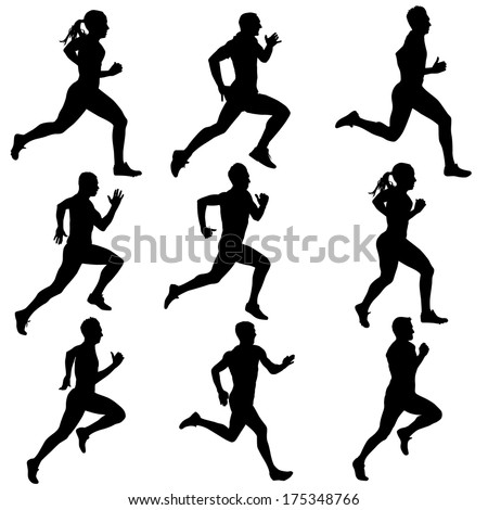 Set running silhouettes. Vector illustration. - stock vector