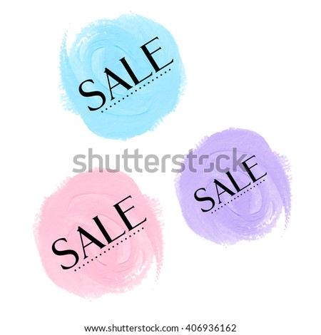 Set Sale signs over original grunge art brush paint texture background acrylic stroke vector illustration. Perfect watercolor design for shop banners or cards. - stock vector