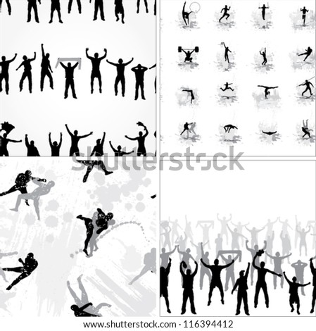Set seamless  background from sport silhouettes - stock vector