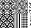 Set seamless black-white and grey patterns (vector) - stock vector