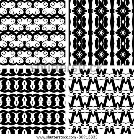 Set seamless decorative elegant pattern, vector - stock vector