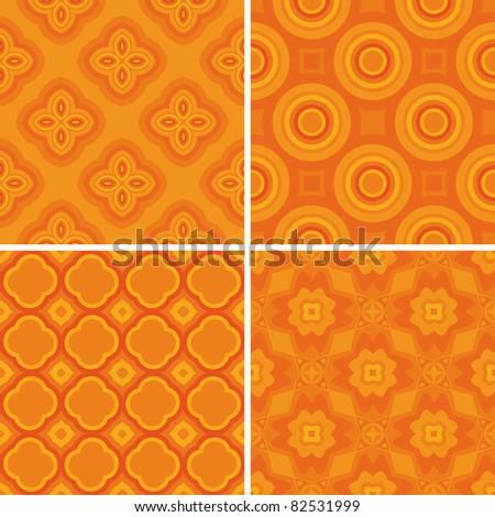 Set seamless decorative pattern, design wallpaper. Vector - stock vector