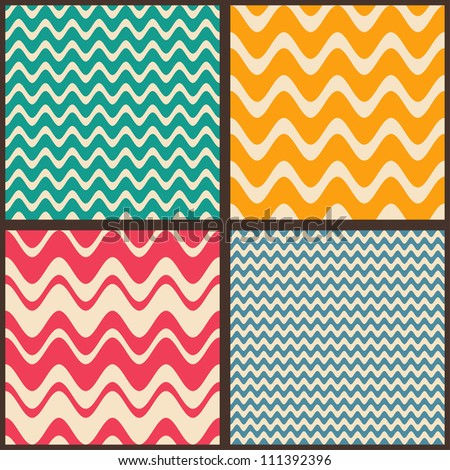 Set. Seamless geometric abstract pattern with zigzags. Can be used in textiles, for book design, website background. - stock vector