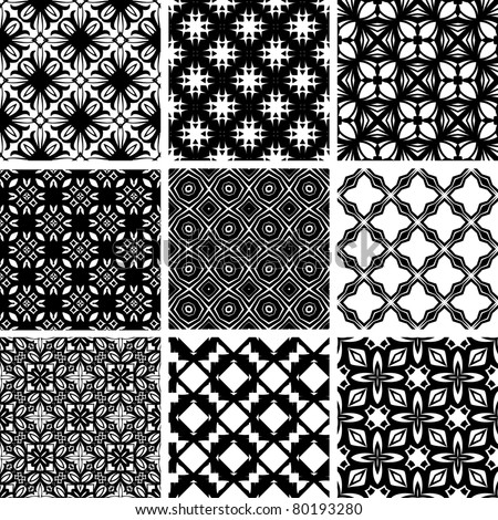 Set seamless geometric floral pattern. Vector, illustration - stock vector