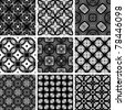Set seamless geometric pattern, black and white wallpaper - stock vector