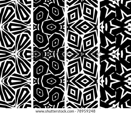 Set seamless geometric pattern, vector - stock vector