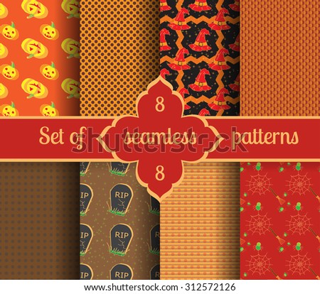 Set seamless halloween backgrounds and geometric patterns. Vector illustration. - stock vector