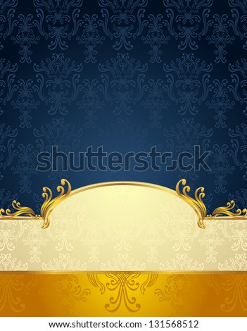 Set Seamless pattern in Victorian style Gold and Dark Blue colors or background - stock vector