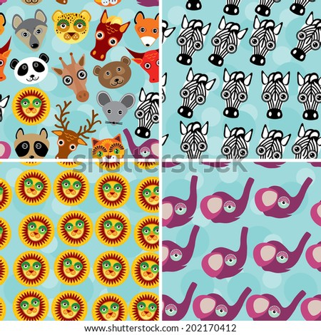 Set 4 Seamless pattern with funny cute animal face on a blue background. vector - stock vector
