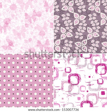 Set seamless pink grunge patterns with polka dots, spots and butterflies (vector EPS 10) - stock vector