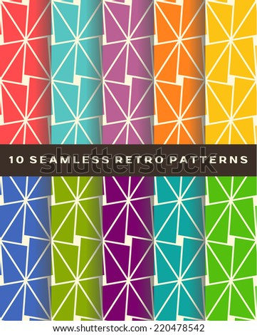 Set seamless retro vector patterns backgrounds - stock vector