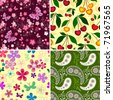 Set seamless spring vivid floral patterns (vector) - stock photo