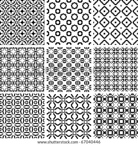 Set seamless wallpaper pattern, EPS 8 vector  illustration
