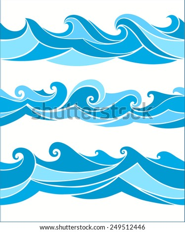 set seamless waves from element of the design - stock vector