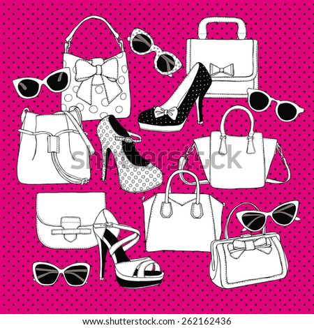 Set Shoes Bags Glasses Black & White & Pink - stock vector