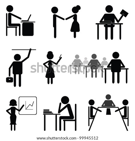 Set sign and symbol on theme business and office people. Template.