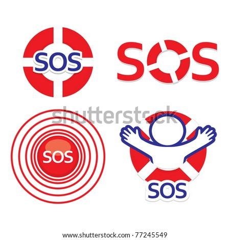 Set sign sos - the international distress signal. - stock vector