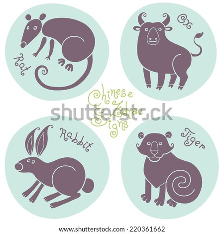 Set signs of the Chinese zodiac Rat, Ox, Rabbit, Tiger. Vector illustration. - stock vector