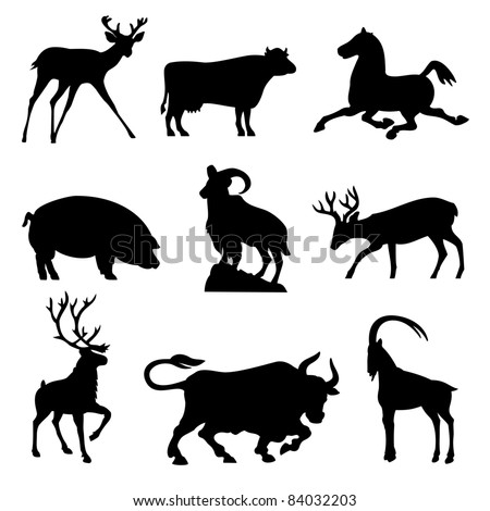 set silhouette vector images animals fnd ungulates - stock vector