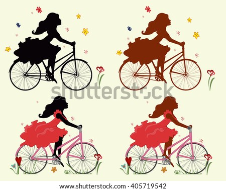 Set silhouettes girls on Bicycle . 4 different versions of vector illustrations.  - stock vector