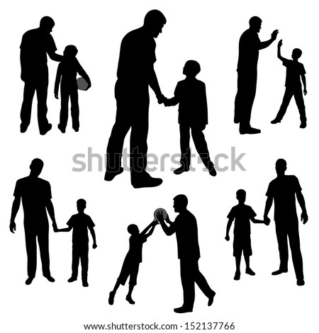 set silhouettes of man and boy family dad and son