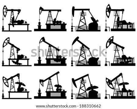 Set silhouettes of units for oil industry, oil pump in different positions. - stock vector