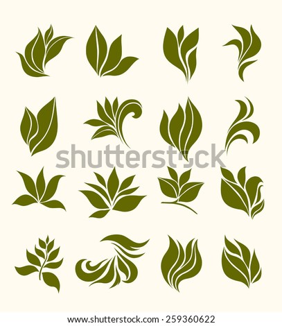 set silhouettes stylized leaves - stock vector