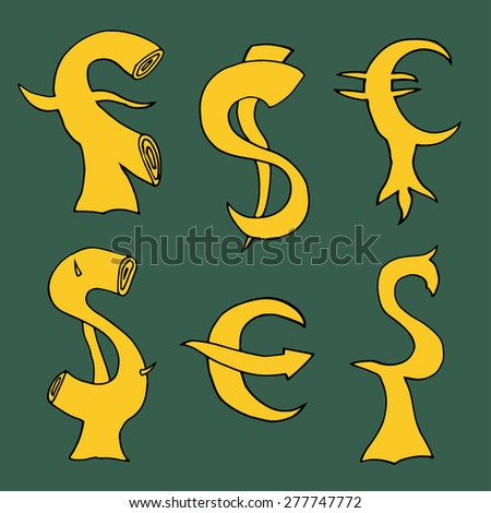Set sketch of sign Dollar and Euro with arrows. Vector illustration - stock vector