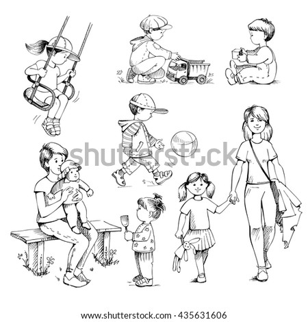 set sketches on white background kids preschoolers childhood childrens playground outdoor - Sketch Images For Kids