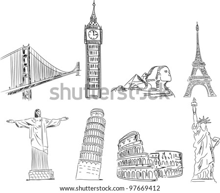 Set sketches points of interest of the world, the vector - stock vector