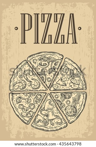 Set Slice Pizza Vintage Vector Engraving Illustration For Poster Menu Box Isolated