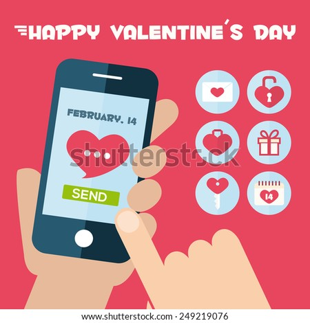 Set Smart-phone app concept. Valentine's Day holiday icons. Flat icons design
