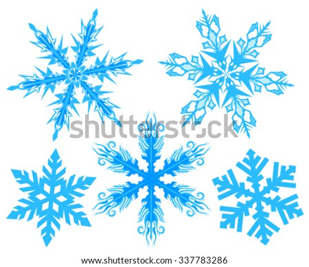 Set Snowflake. Flake of snow. Isolated on white vector illustration - stock vector