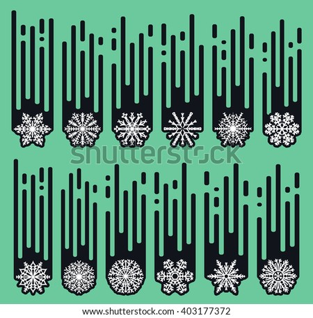 Set snowflakes of handmade. Snowflake Flat. New Year's symbols. Snowflakes for design. Winter objects. Festive elements. Snowflake Doodle. Snowflake Sketch. Winter snow. - stock vector