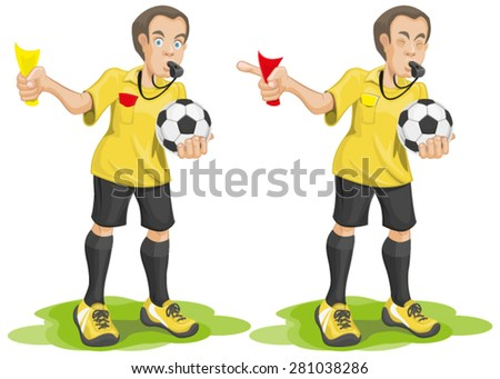 Set soccer referee whistles and shows card. Isolated illustration in vector format - stock vector