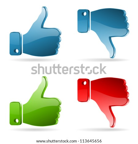 Set Social Media Sticker with Like and Unlike Icon, isolated on white, vector - stock vector