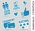 Set Social Media Stickers with Like, Speech Bubble, Heart, Like, Join and Bird Icon, isolated vector - stock vector