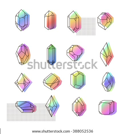 Set space crystals for prints. Hipster style fabric. Gasoline colors memphis. - stock vector